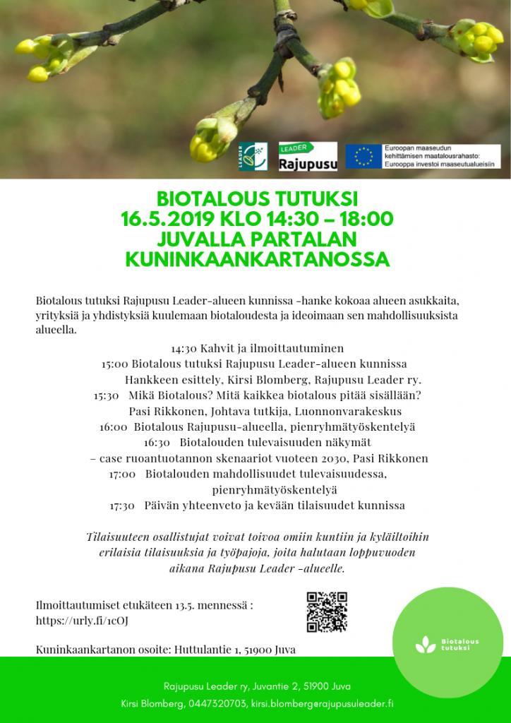 Biotalous tutuksi 16.5.2019 Juvalla Partalan kuninkaankartanossa. Ohjelma esite jo menneestä tilaisuudesta.